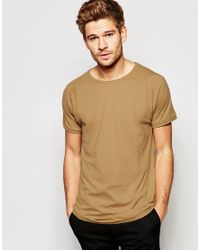 SELECTED | Brown Longline T-shirt - Camel for Men | Lyst