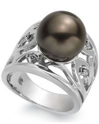 Macy's | White Pearl Ring, Sterling Silver Cultured Tahitian Pearl Ring (11Mm) | Lyst