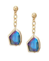 Cara Couture | Blue Iridescent Geometric Stone Drop Earrings/goldtone | Lyst