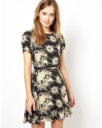 Oasis - Multicolor Floral Belted Skater Dress - Lyst