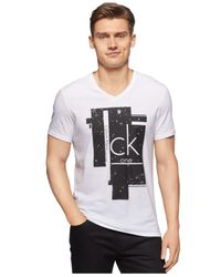 Calvin Klein | White Ck One Splatter-block V-neck T-shirt for Men | Lyst