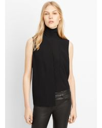 Vince - Black Laser Cut Sleeveless Turtleneck - Lyst