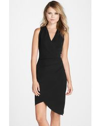 Nicole Miller Black 'Stephanie' Jersey Faux Wrap Dress