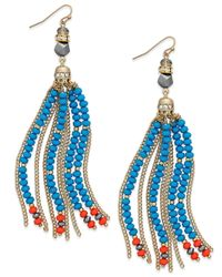 INC International Concepts | Multicolor Gold-tone Mixed Bead And Chain Tassel Drop Earrings | Lyst