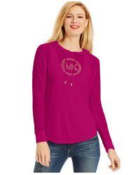Michael Kors | Purple Michael Studded Logo Hoodie | Lyst