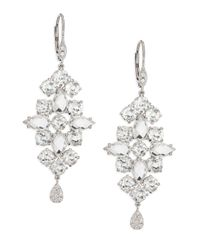 Meira T | Metallic Diamond, White Topaz & 14k White Gold Drop Earrings | Lyst