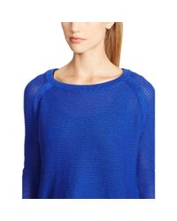 Ralph Lauren | Blue Cropped Cotton Sweater | Lyst