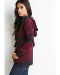 Forever 21 | Blue Open Knit Geo-patterned Hoodie | Lyst