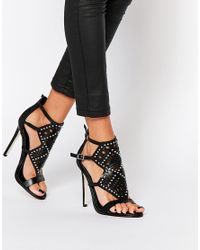 ASOS | Black Hovercraft Caged Heeled Sandals | Lyst