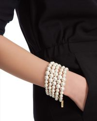 Jaeger - White Five Row Pearl Bracelet - Lyst