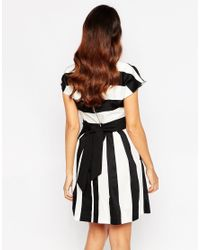 Closet - Black Square Neck Dress In Stripe Print - Lyst