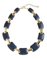 Brooks Brothers | Blue Embossed Leather Link Necklace | Lyst