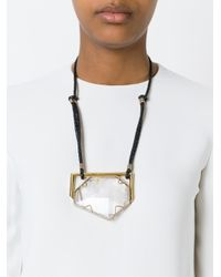 Lanvin | Black Oversized Crystal Pendant Necklace | Lyst