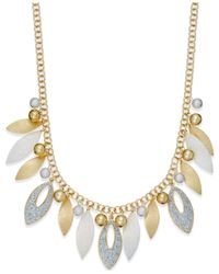 Style & Co. - Metallic Glitter Navette Frontal Necklace - Lyst