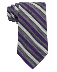 Calvin Klein | Purple Silk-blend Stripe Tie for Men | Lyst