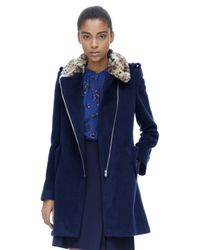 Rebecca Taylor | Blue Leopard Collar Wool Coat | Lyst
