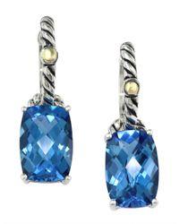 Effy | Sterling Silver 18kt Yellow Gold Blue Topaz Earrings | Lyst