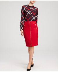 Ann Taylor   Red Refined Zip Pencil Skirt   Lyst
