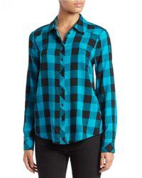 Kensie | Blue Plaid Lace-back Shirt | Lyst