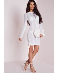 Missguided - Ribbed Tie Side Knitted Mini Dress White - Lyst