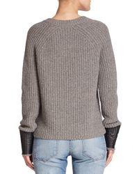 Rag & Bone - Gray Bonnie Cuffed Crewneck Sweater - Lyst
