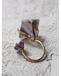 Free People | Metallic Aoko Su Womens Fluorite Two Moons Ring | Lyst