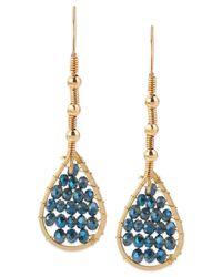 Kenneth Cole | Gold-tone Blue Bead Drop Earrings | Lyst