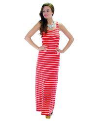 Fashion Club USA - Red Striped & Swift Maxi Dress - Lyst
