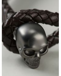 Alexander McQueen | Brown Woven Skull Bracelet for Men | Lyst