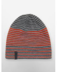 Calvin Klein | Gray White Label Striped Reversible Beanie for Men | Lyst