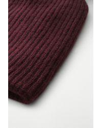 Rag & Bone | Purple Cynthia Knit Beanie With Shearling Fur Pompom | Lyst