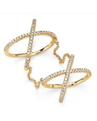 Palmbeach Jewelry - Metallic .88 Tcw Micro-pave Cubic Zirconia Crisscross Knuckle Ring In 14k Gold Over Sterling Silver - Lyst