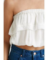 Forever 21 | Natural Crocheted Strapless Crop Top | Lyst