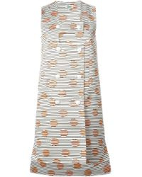 KENZO - White 'Dots And Stripes' Dress - Lyst