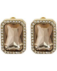 Vince Camuto - Metallic Pave Stone Clip Earrings - Lyst