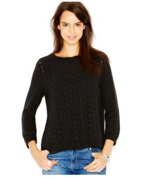 Lucky Brand | Black Lucky Brand Linen-blend Crochet-detail Layered Top | Lyst