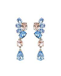 Oscar de la Renta | Blue Swarovski Crystal Asymmetrical Earrings | Lyst