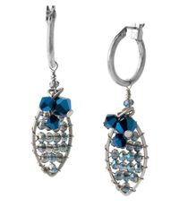 Kenneth Cole - Metallic Silver-Tone Faceted Oval Drop Earrings - Lyst