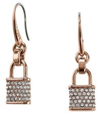 Michael Kors | Metallic Pave Padlock Drop Earrings | Lyst