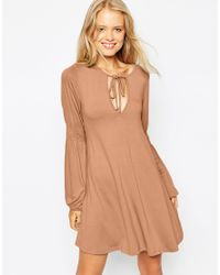 ASOS - Brown Swing Dress With Shirred Sleeves - Lyst