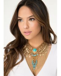 Bebe - Blue Bead & Fringe Necklace - Lyst