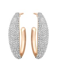 Swarovski | Metallic Circlet Hoop Pierced Earrings | Lyst