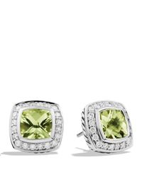 David Yurman - Metallic Petite Albion Earrings With Prasiolite & Diamonds - Lyst