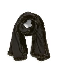 Badgley Mischka | Black Faux Fur Trim Wrap | Lyst