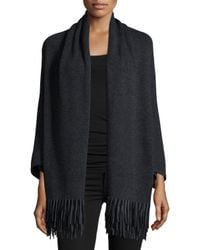 Neiman Marcus | Gray Cashmere Shawl With Suede Fringe Hem | Lyst