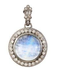 Armenta | Round Cabochon Hematite & Blue Moonstone Doublet Enhancer | Lyst