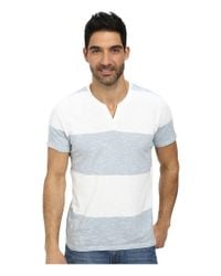 DKNY | Blue Short Sleeve Solid/feeder Stripe V-neck Henley for Men | Lyst
