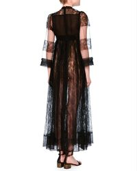Valentino   Black 3/4-sleeve Jewel-neck Lace Gown   Lyst