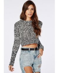 Missguided - Gray Textured Cropped Jumper Grey - Lyst