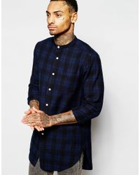 ASOS - Blue Check Shirt In Super Longline With Grandad Collar In Long Sleeves - Lyst